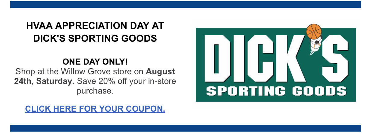 DICKS SPORTS HVAA COUPON 2019 FALL